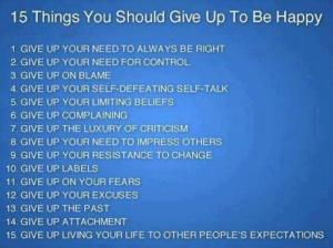 15 things to give up to be happy